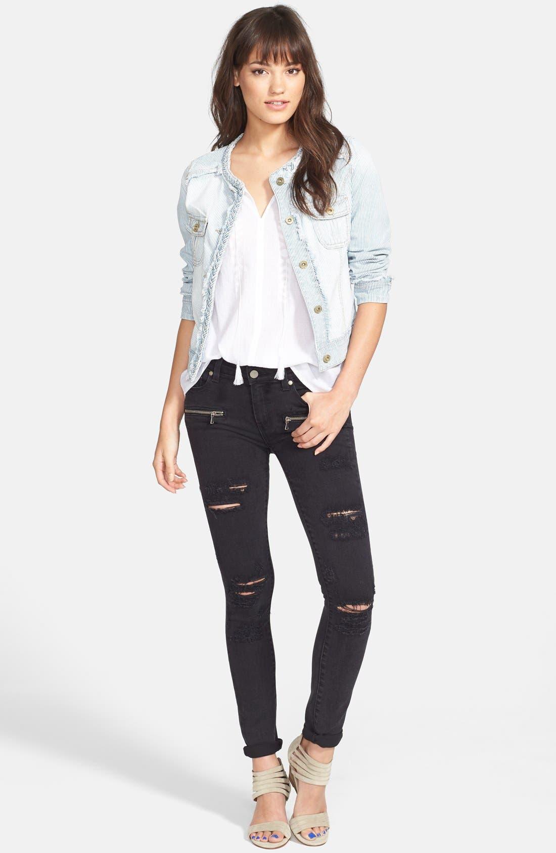 Alternate Image 4  - Paige Denim 'Indio' Zip Detail Skinny Jeans (Ramone Destructed)