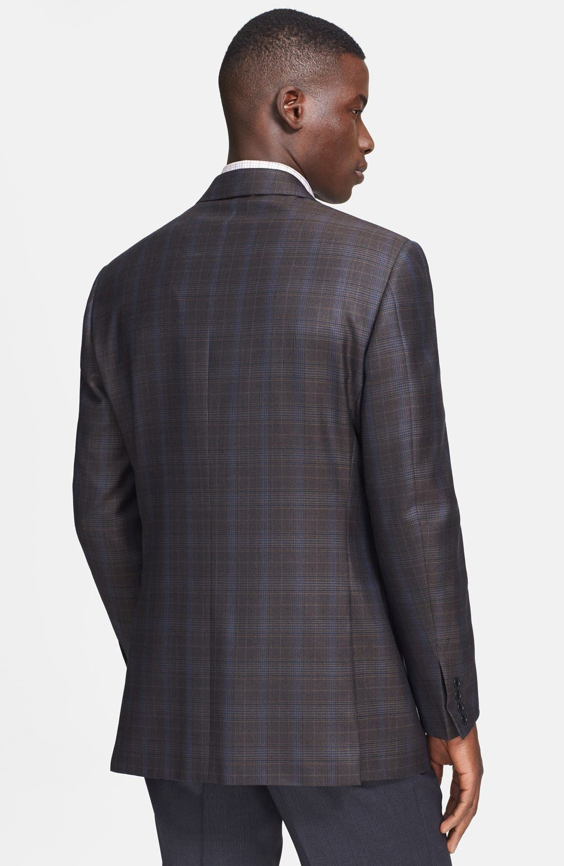 Alternate Image 2  - Canali Classic Fit Brown Plaid Sport Coat