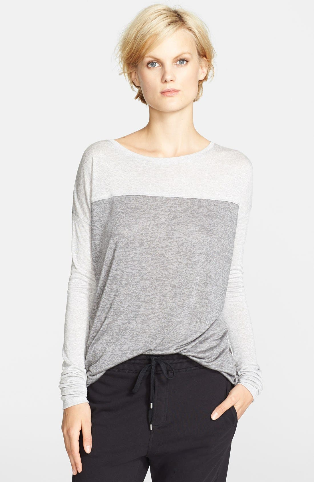 Alternate Image 1 Selected - Vince Silk Piping Long Sleeve Tee