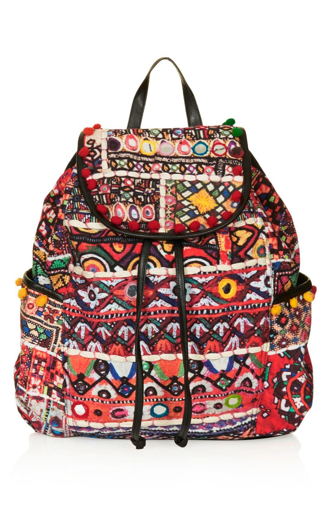 Main Image - Topshop 'Cuzco' Pompom Trim Embroidered Backpack