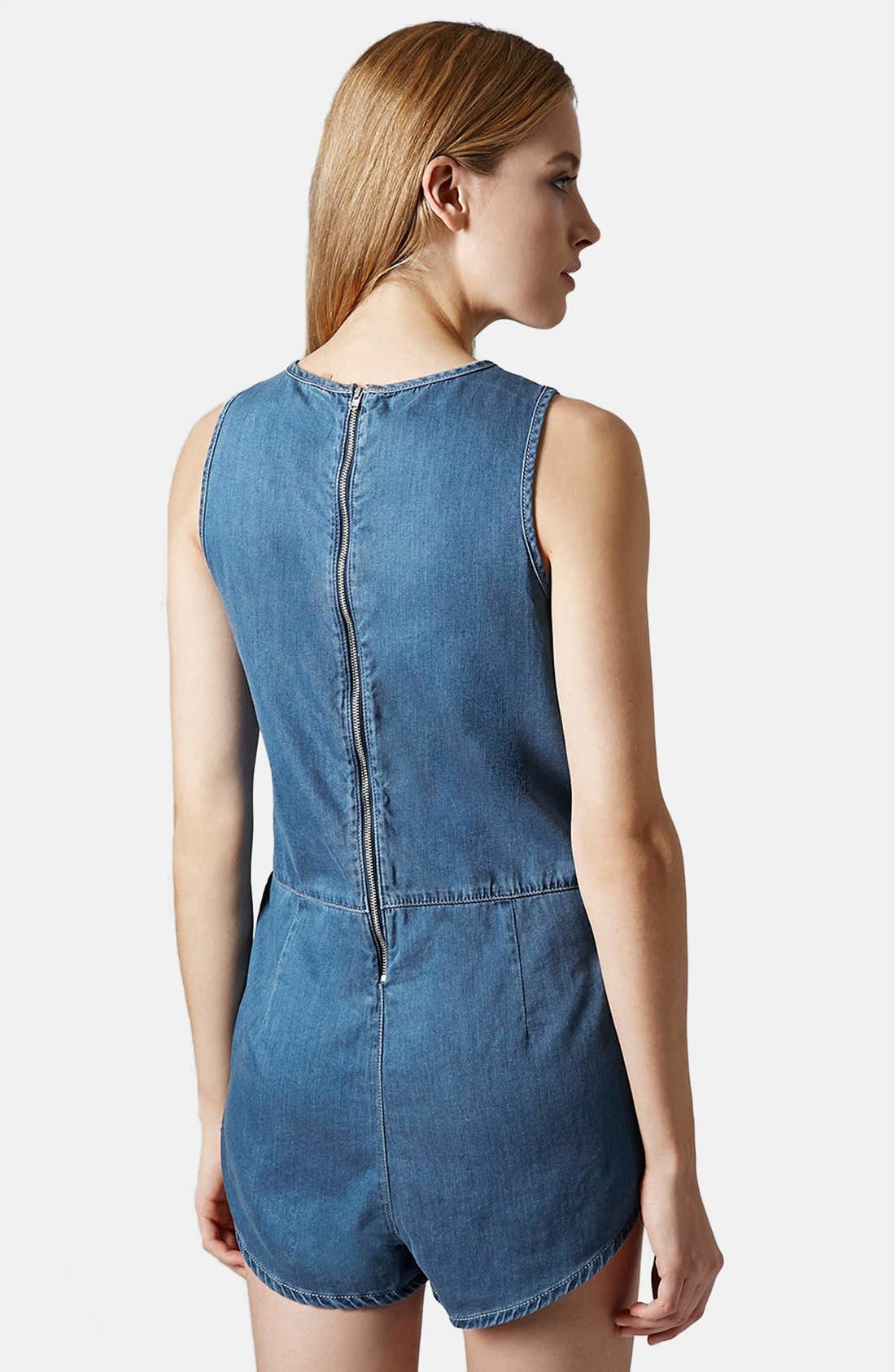 Alternate Image 2  - Topshop Chambray Romper