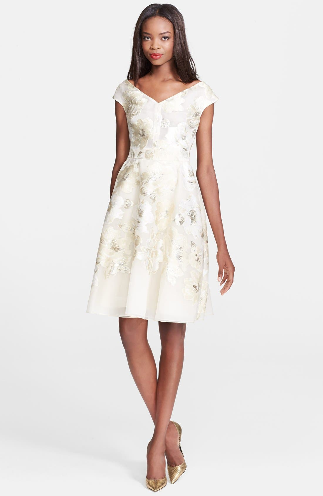 Alternate Image 1 Selected - Lela Rose Gold Leaf Fil Coupe Floral Dress