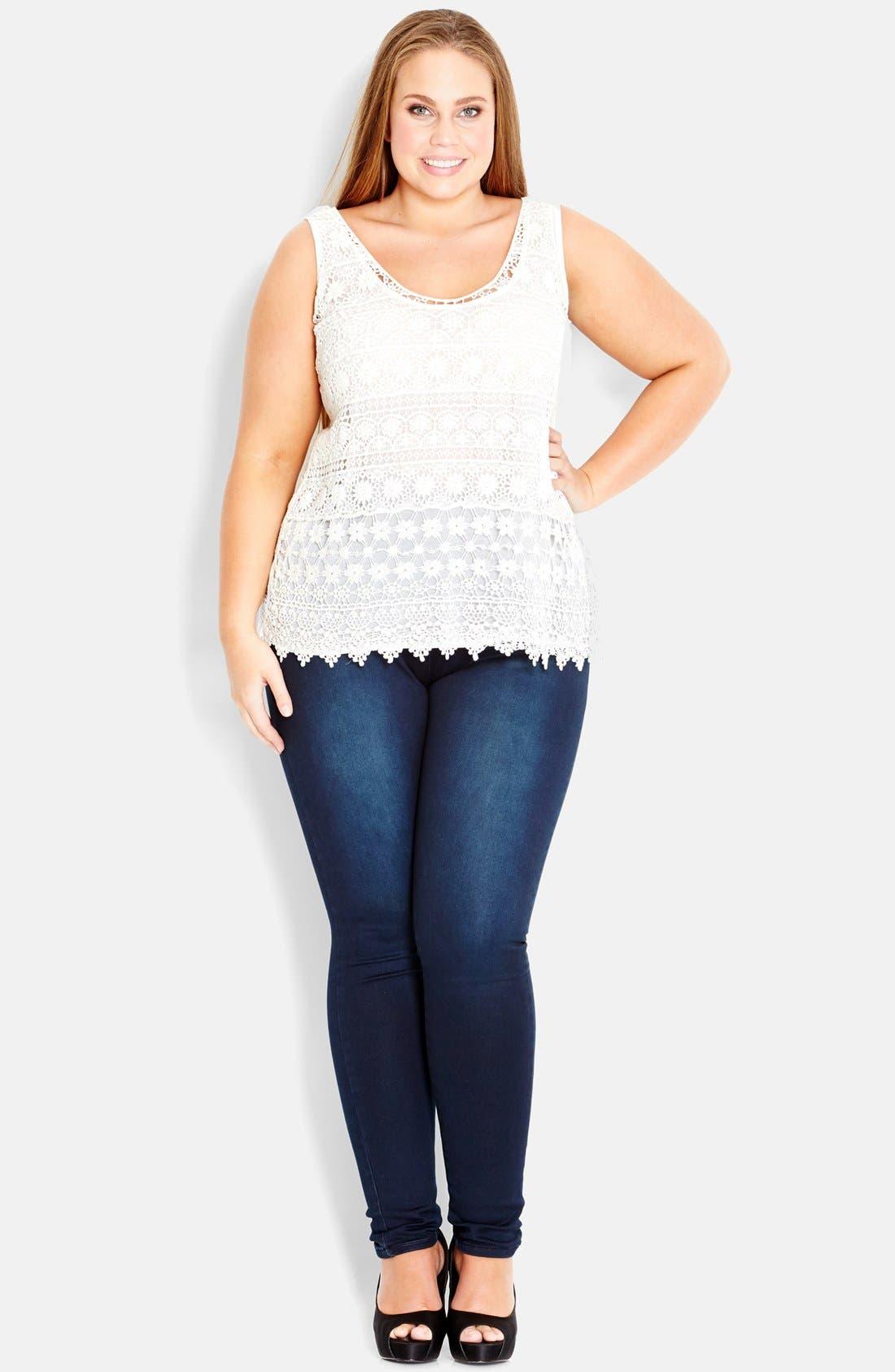 Main Image - City Chic Daisy Crochet Tank (Plus Size)