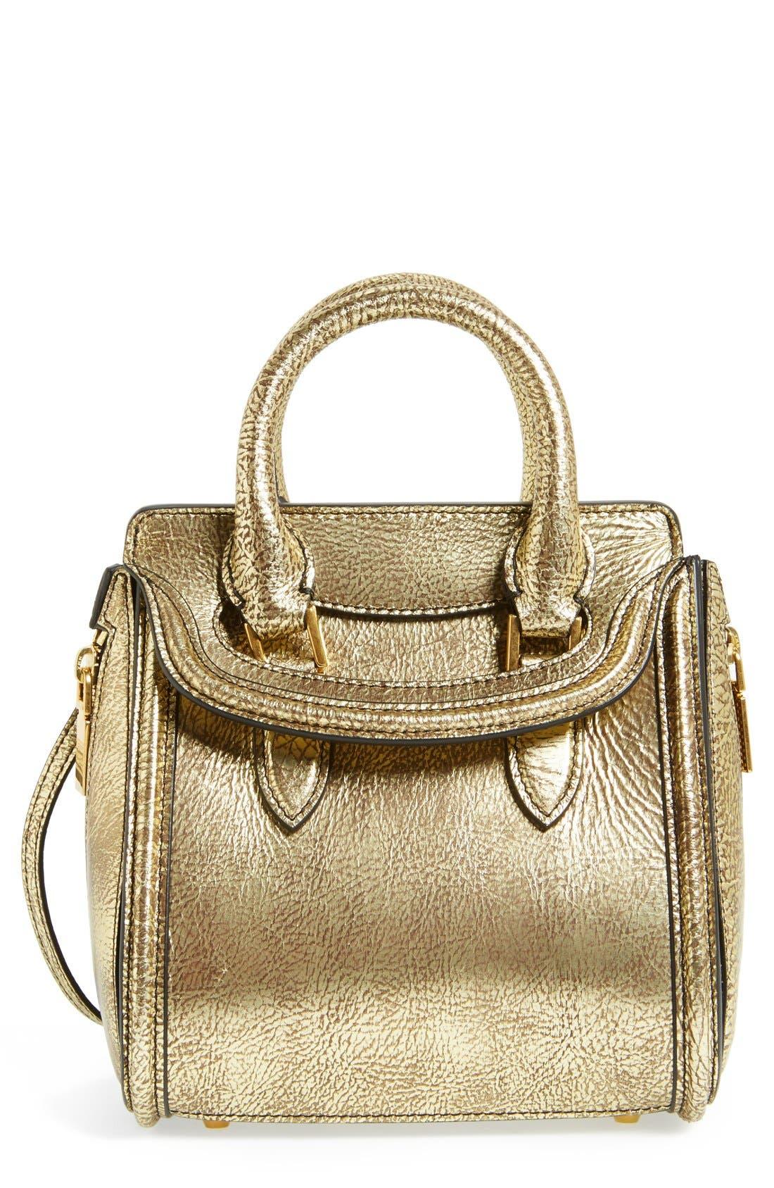 Alternate Image 1 Selected - Alexander McQueen 'Mini Heroine' Metallic Lambskin Leather Crossbody Bag