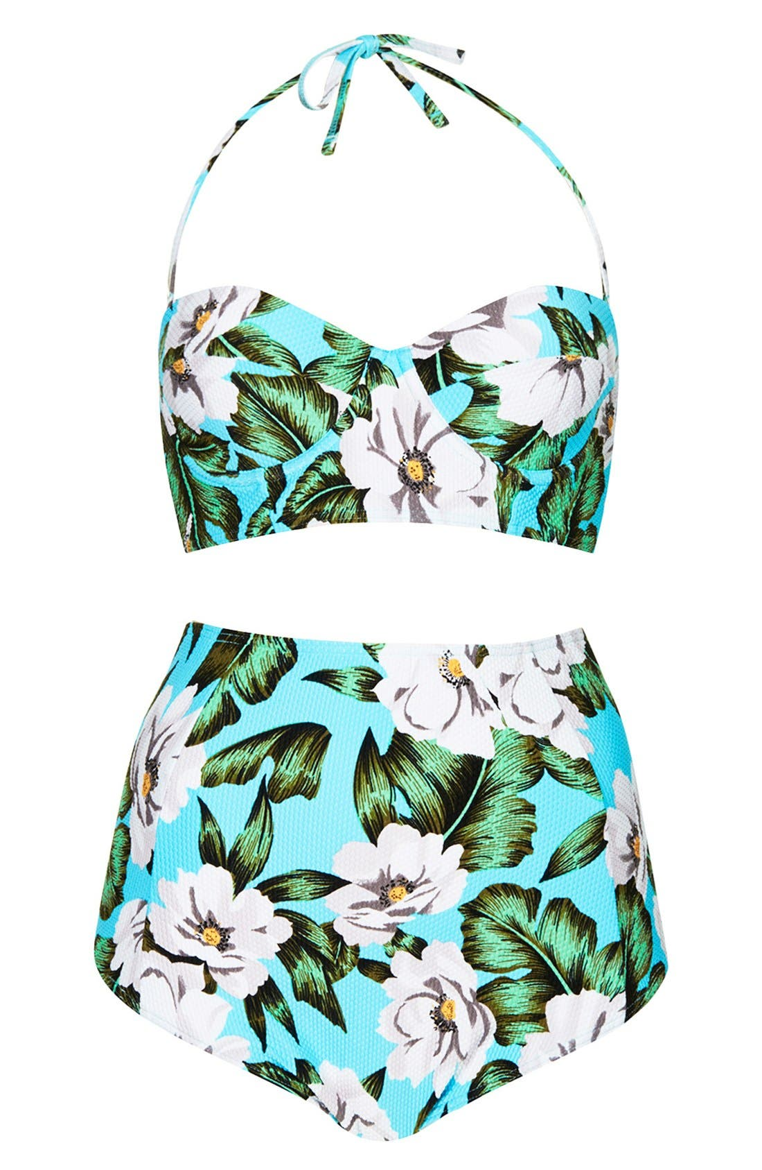 Alternate Image 1 Selected - Topshop 'Aloha' Print Longline Swimsuit