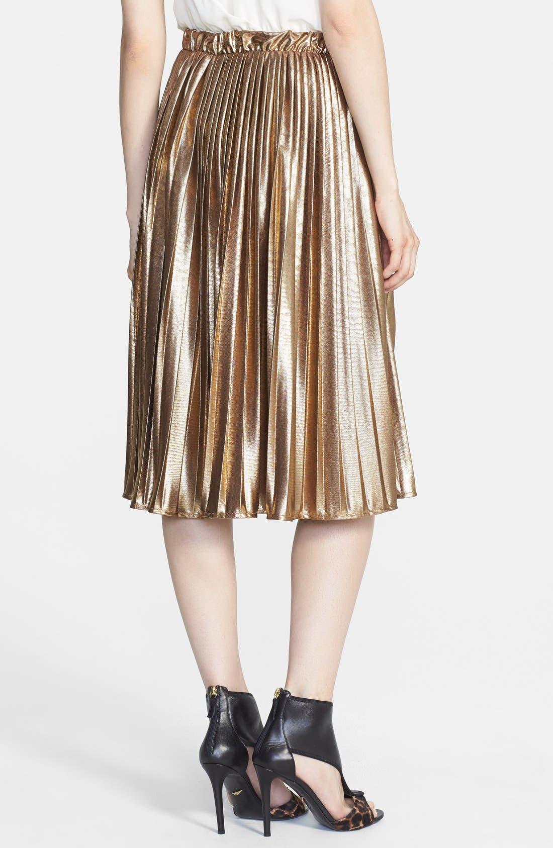 Alternate Image 2  - Rules of Etiquette Metallic Pleat Skirt