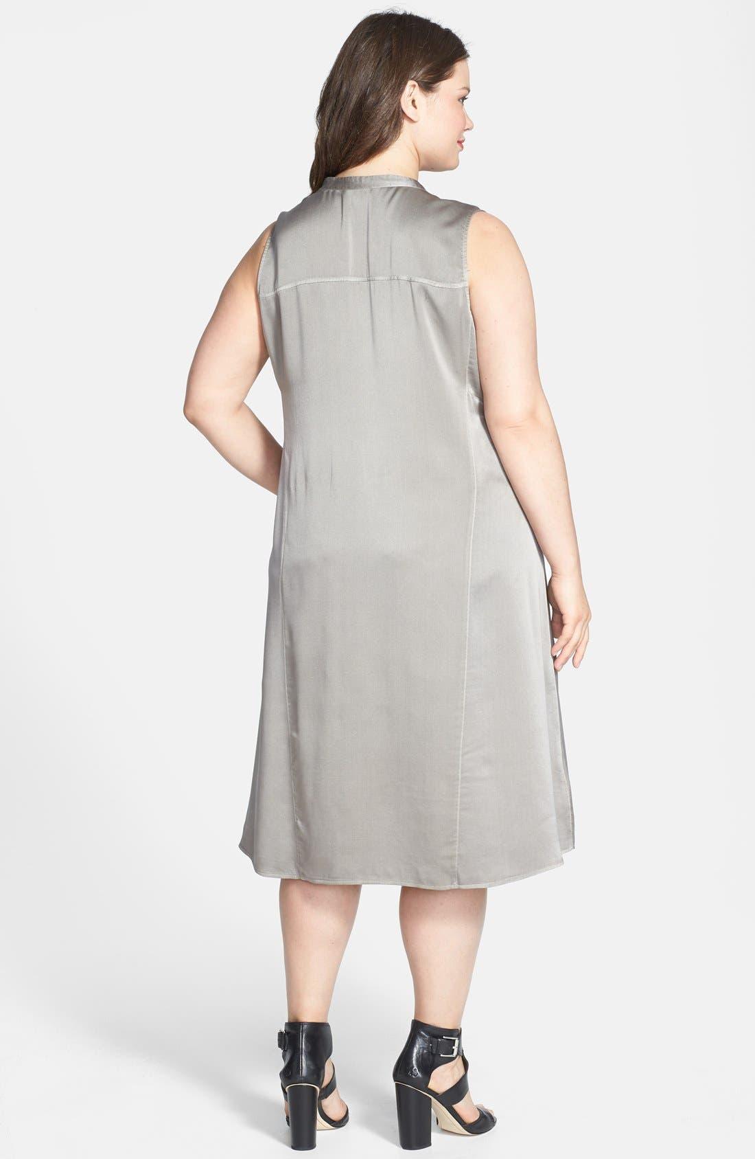 Alternate Image 2  - Eileen Fisher Washed Silk Charmeuse Mandarin Collar V-Neck Shift Dress (Plus Size)