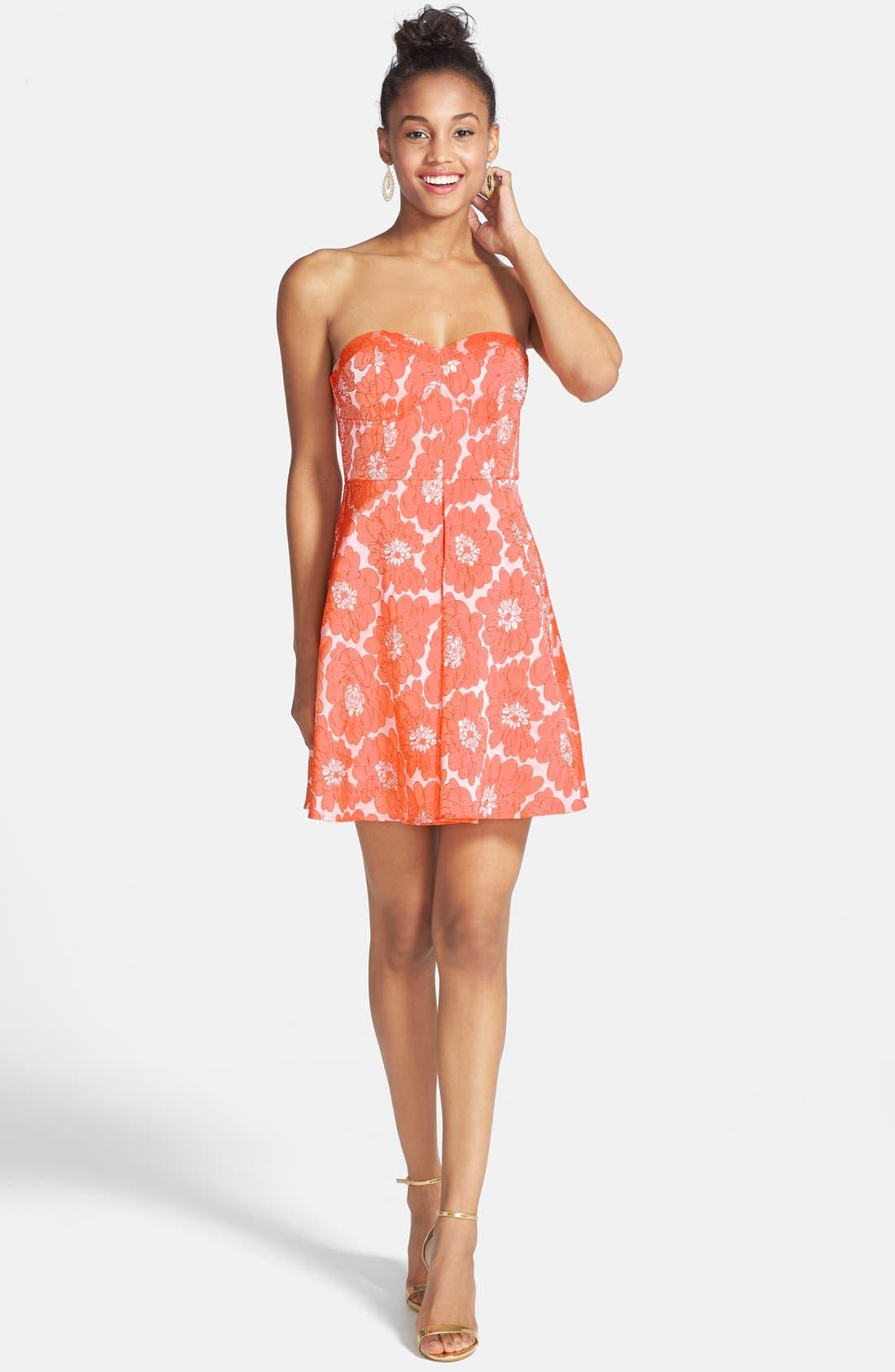 Alternate Image 3  - a. drea Textured Floral Print Fit & Flare Dress (Juniors)