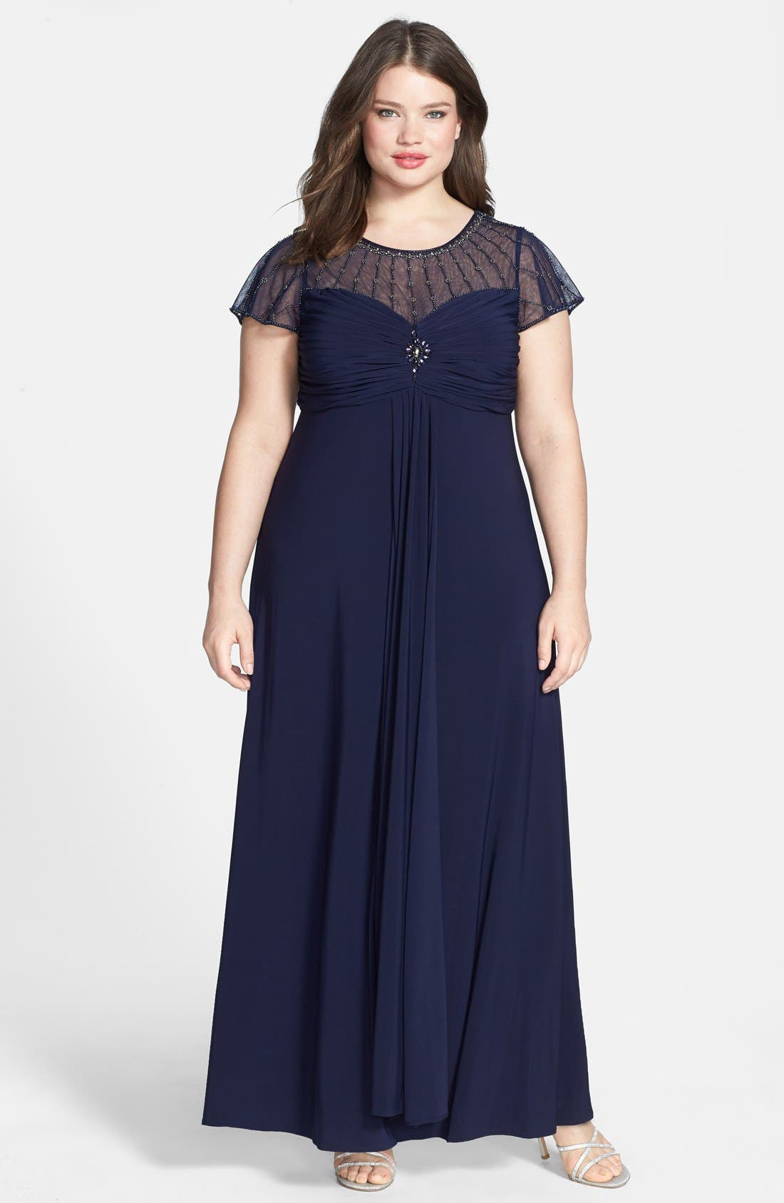 Main Image - Patra Beaded Illusion Top Matte Jersey Gown (Plus Size)