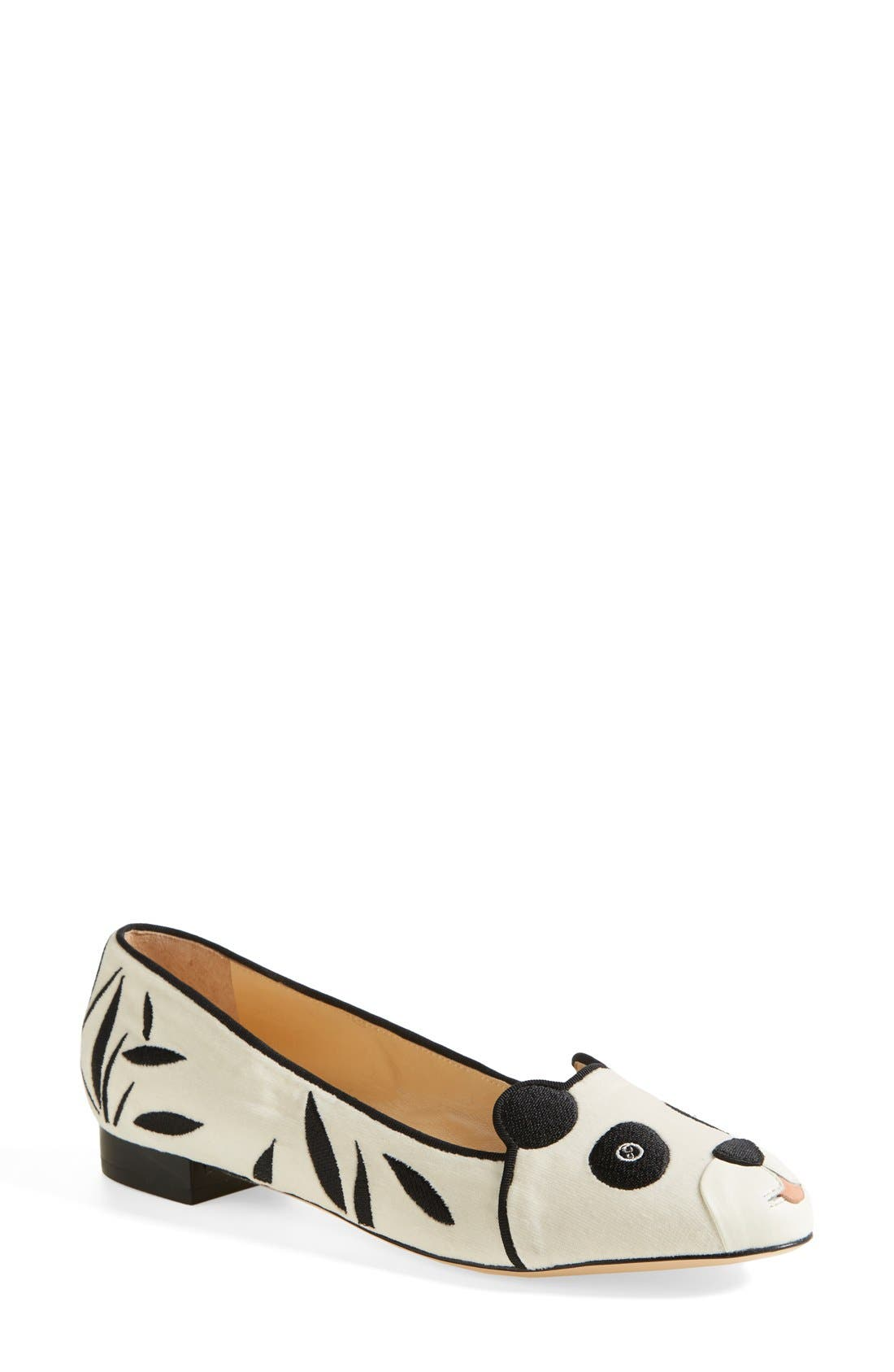 Alternate Image 1 Selected - Charlotte Olympia 'Panda' Silk Velvet & Calfskin Leather Flat (Women)