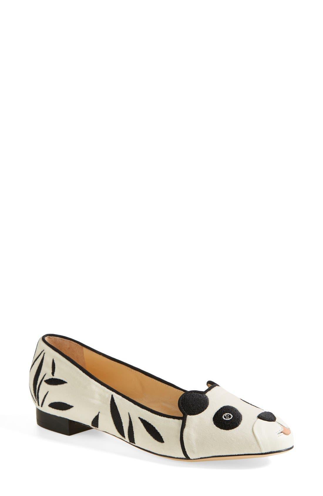Main Image - Charlotte Olympia 'Panda' Silk Velvet & Calfskin Leather Flat (Women)