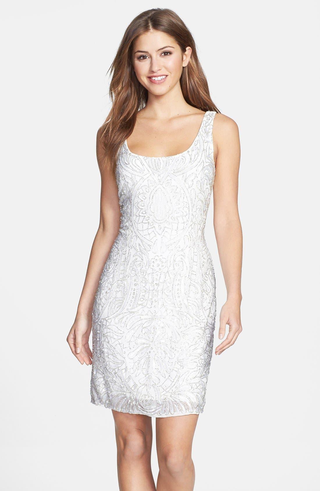 Alternate Image 1 Selected - Aidan Mattox Short Beaded Dress