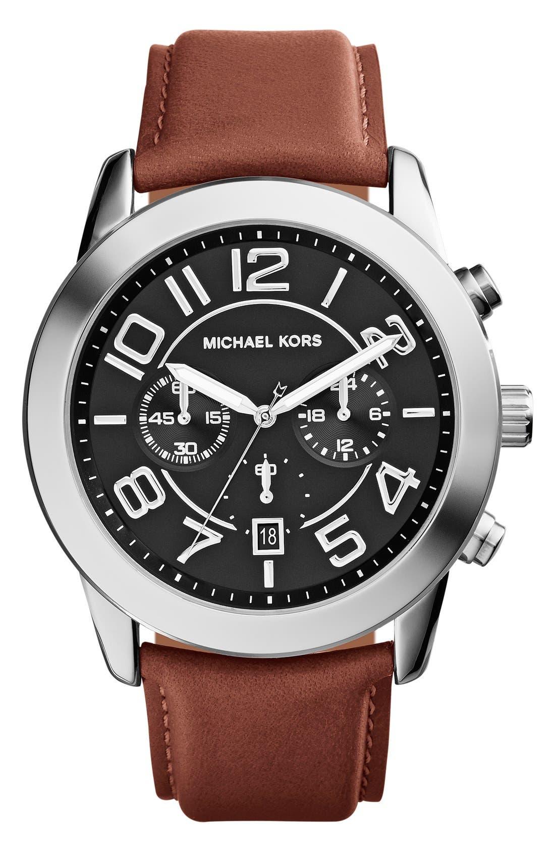 Main Image - Michael Kors 'Mercer' Large Chronograph Leather Strap Watch, 45mm