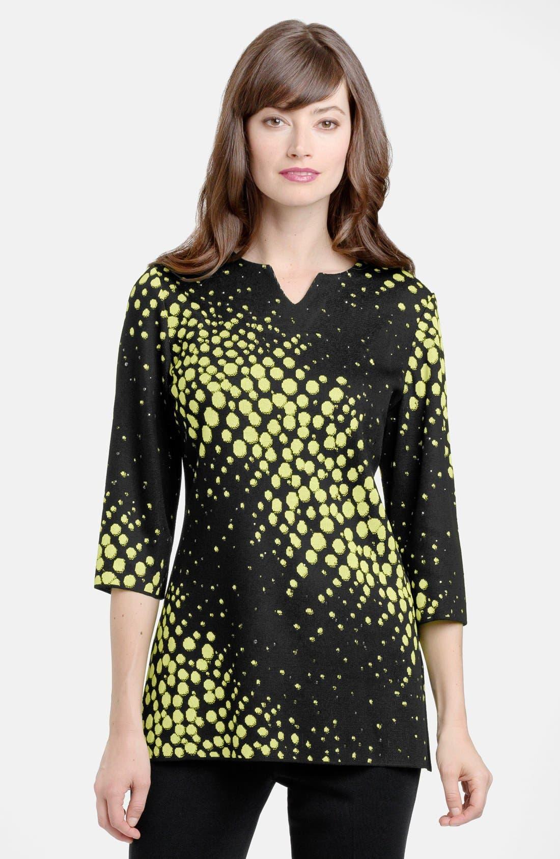 Main Image - Ming Wang Three Quarter Sleeve Embellished Knit Tunic