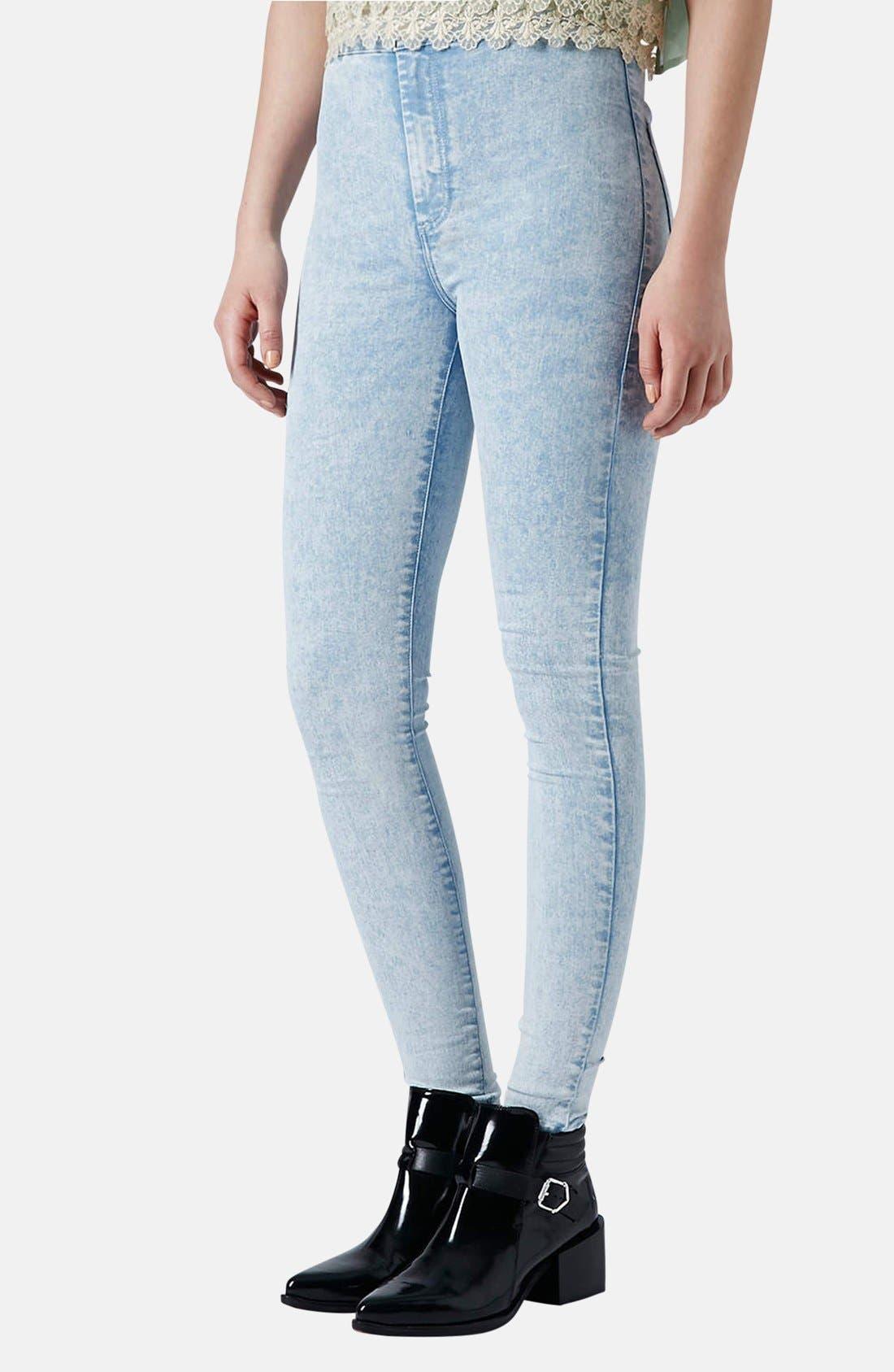 Main Image - Topshop Moto 'Joni' Acid Wash High Rise Skinny Jeans (Light) (Regular & Short)