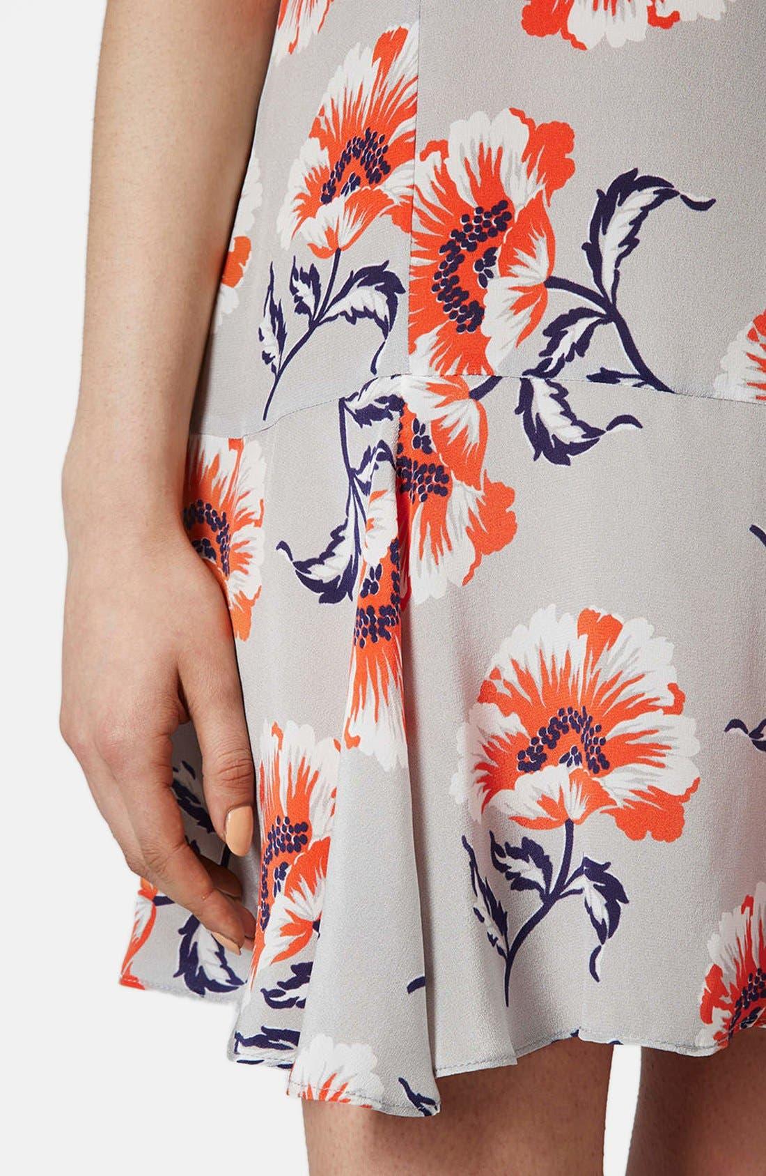 Alternate Image 4  - Topshop Boutique Floral Print Silk Shift Dress