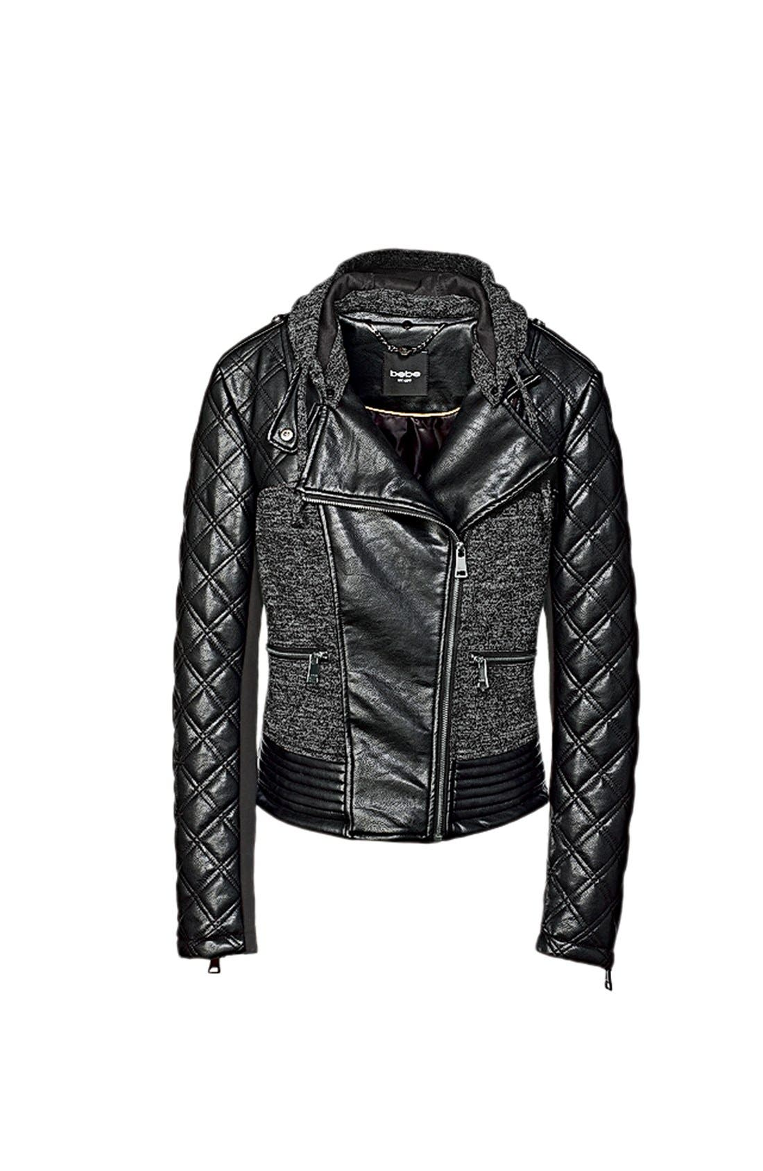Alternate Image 5  - bebe Knit & Faux Leather Hooded Moto Jacket