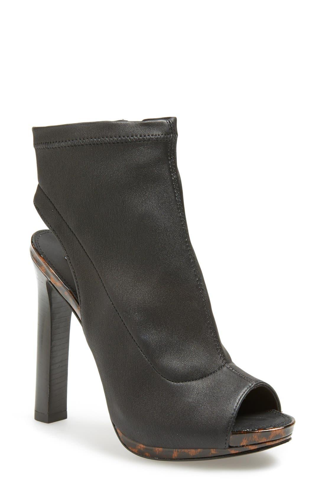Alternate Image 1 Selected - Diane von Furstenberg 'Armara' Peep Toe Stretch Leather Bootie (Women)