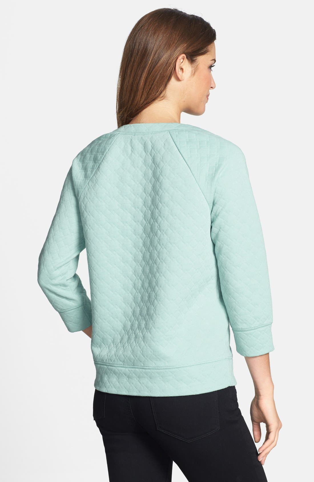 Alternate Image 2  - Halogen® Quilted Sweatshirt (Petite)
