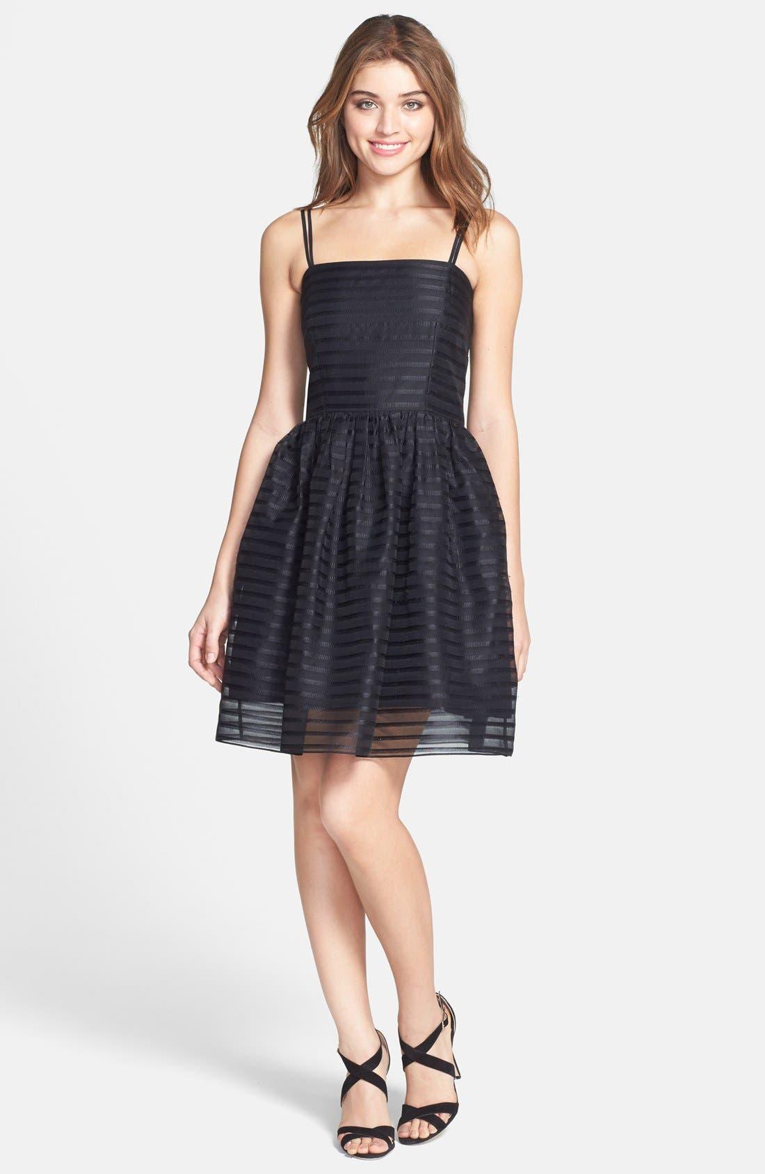 Alternate Image 3  - Shoshanna 'Chelsea' Ribbon Stripe Silk Organza Fit & Flare Dress