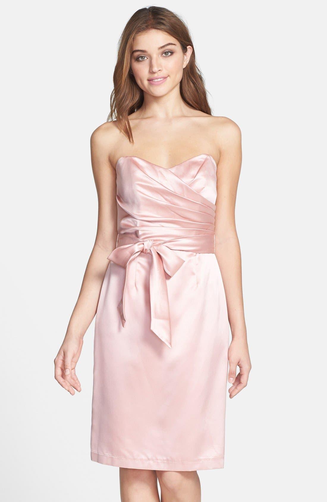 Dessy Collection Cross Draped Strapless Satin Sheath Dress