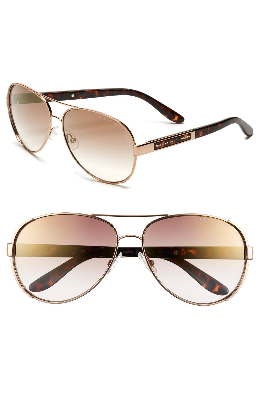Main Image - MARC BY MARC JACOBS 60mm Stainless Steel Aviator Sunglasses