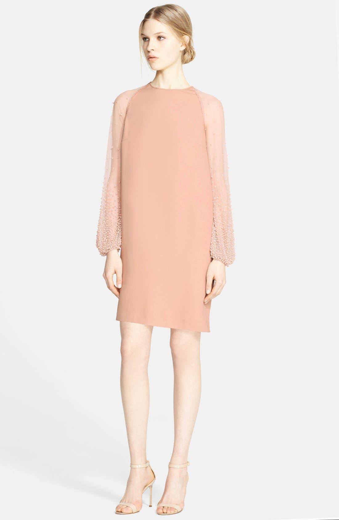 Alternate Image 1 Selected - Naeem Khan Silk Georgette Dress with Hand Beaded Sleeves