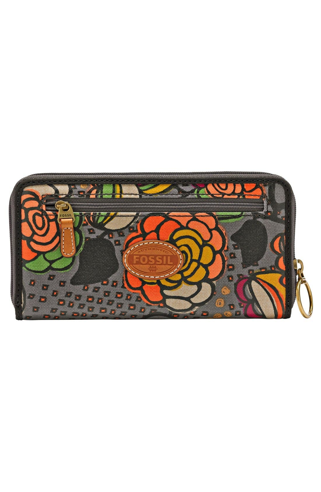 Alternate Image 3  - Fossil 'Key-Per' Print Coated Canvas Zip Around Clutch Wallet