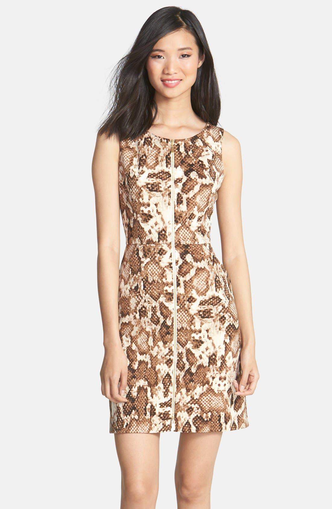 Main Image - Vince Camuto Zip Front Snakeskin Print Scuba Dress