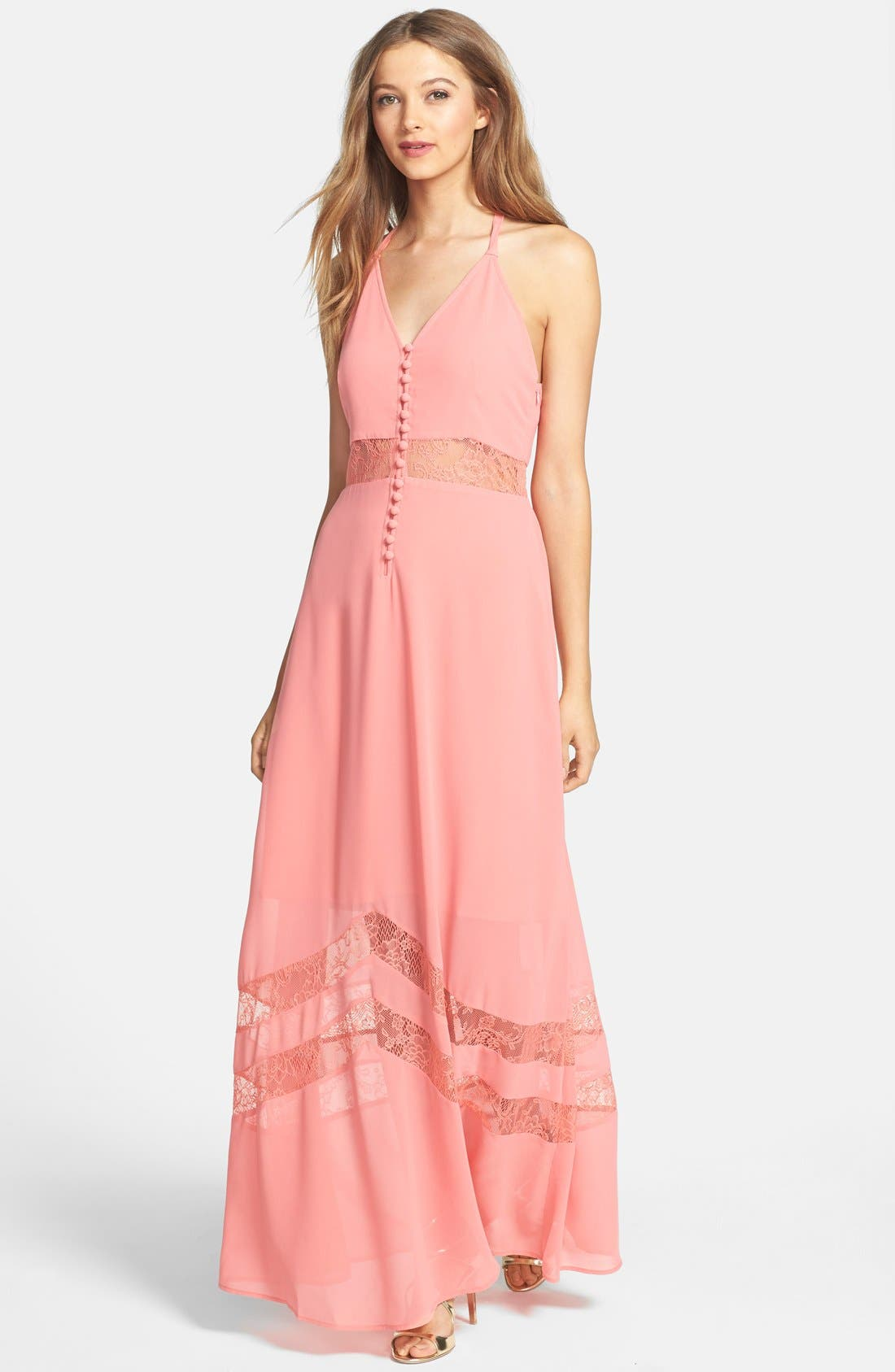Main Image - Jarlo 'Sienna' Lace Inset T-Back Chiffon Gown