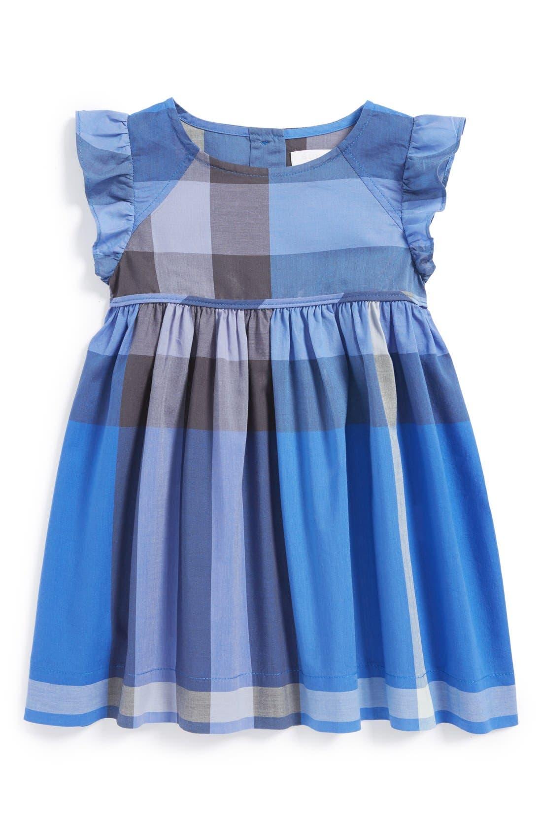 Alternate Image 1 Selected - Burberry Flutter Sleeve Dress (Baby Girls)