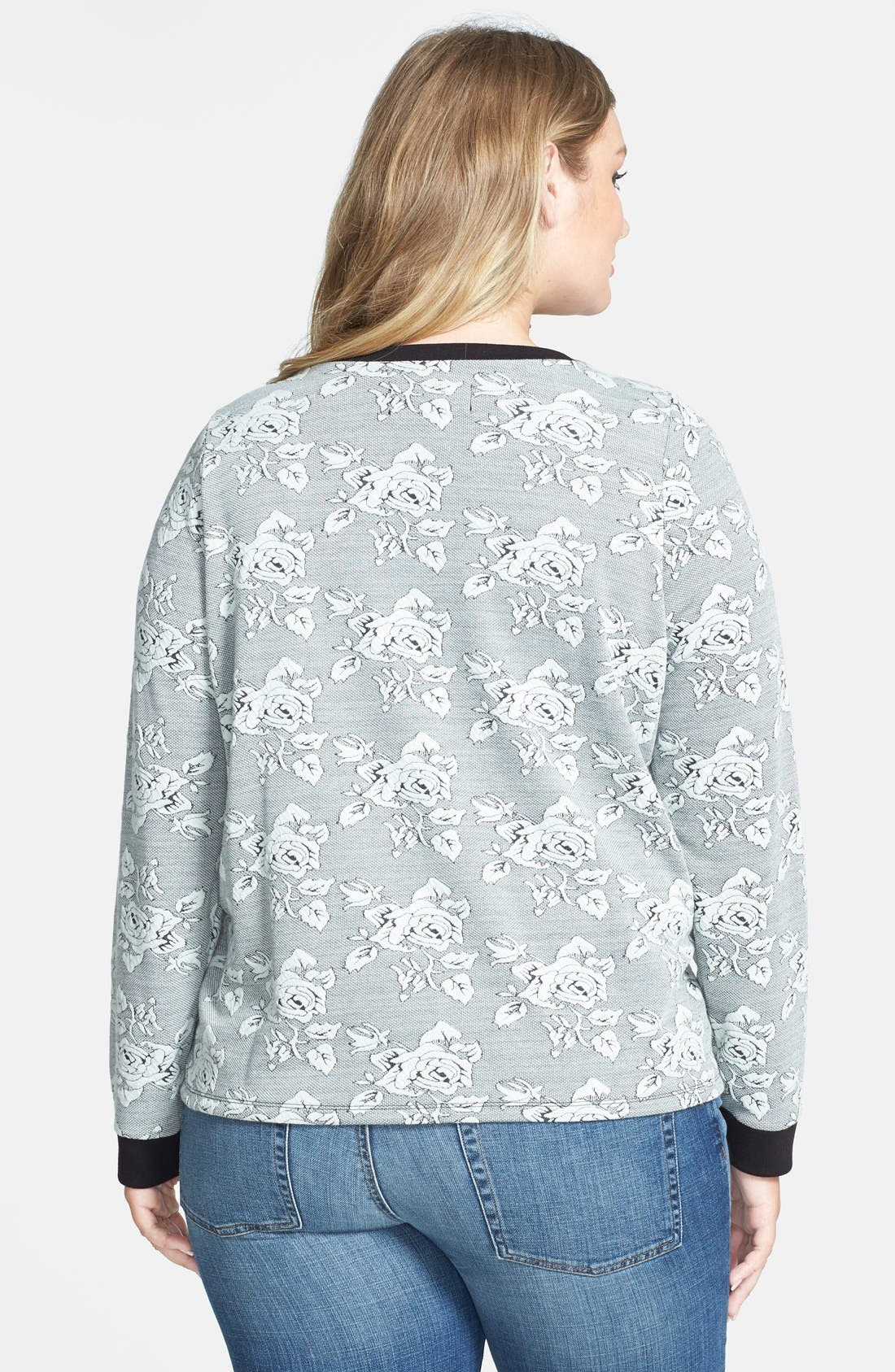 Alternate Image 2  - BB Dakota 'Davi Rose' Jacquard Sweatshirt (Plus Size)