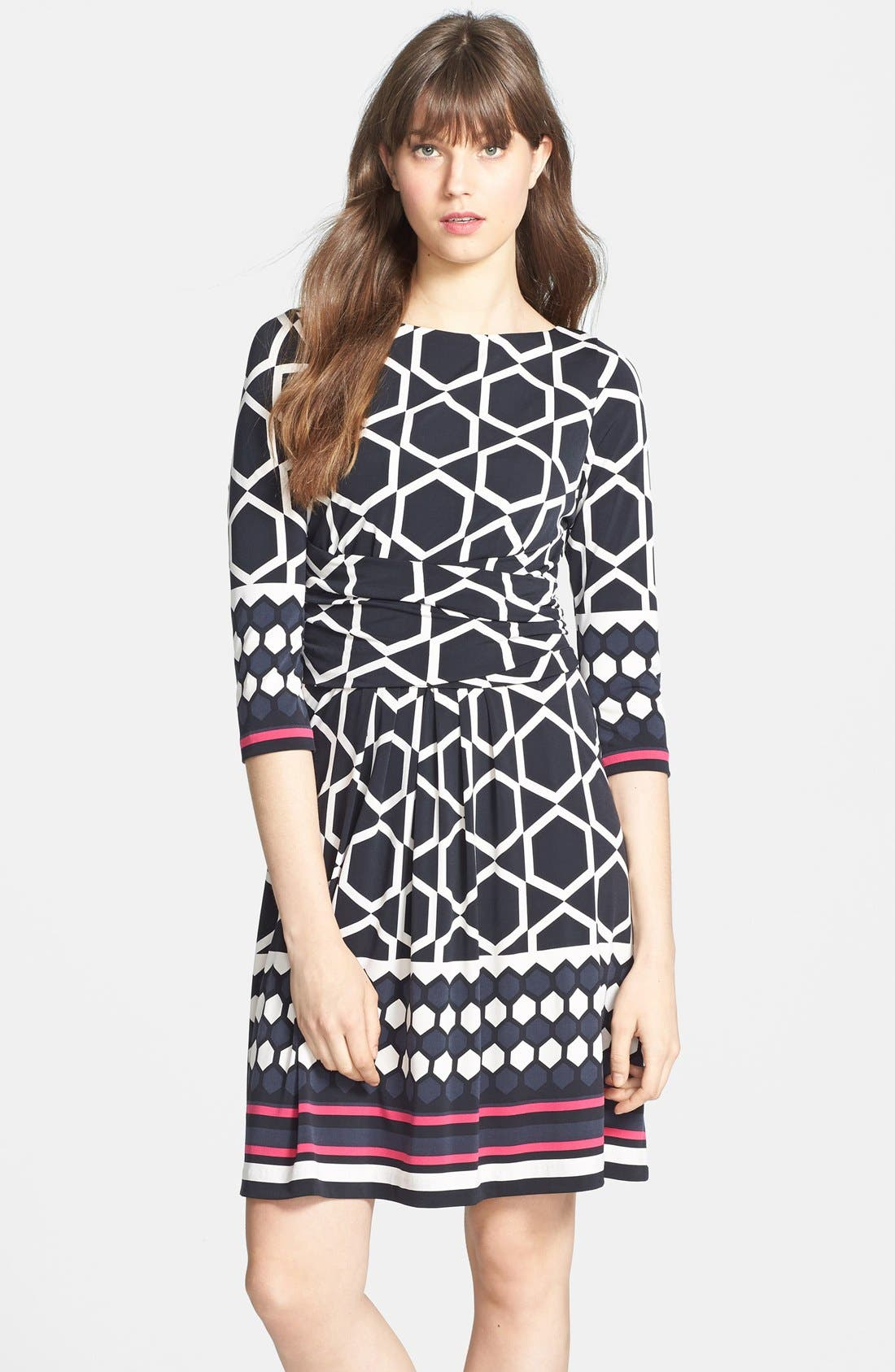 Main Image - Eliza J Border Print Ruched Waist Fit & Flare Dress