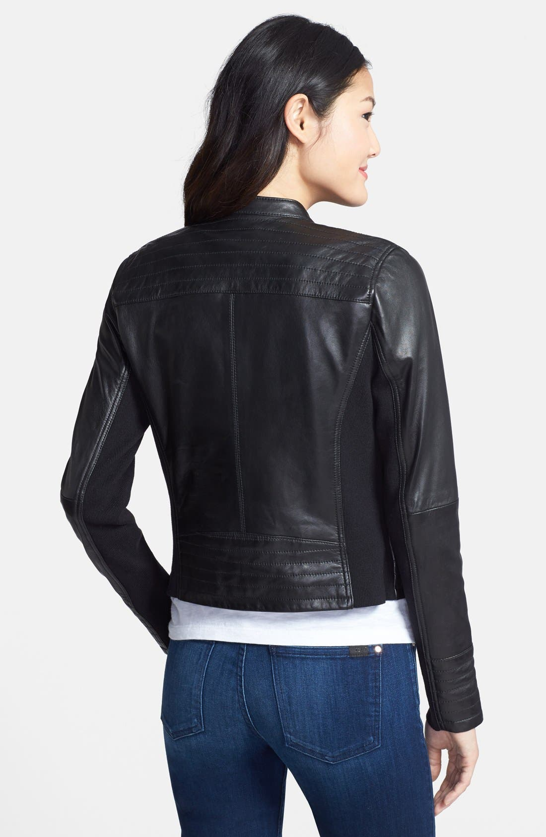 Alternate Image 2  - Halogen® Zip Detail Leather Moto Jacket (Regular & Petite)