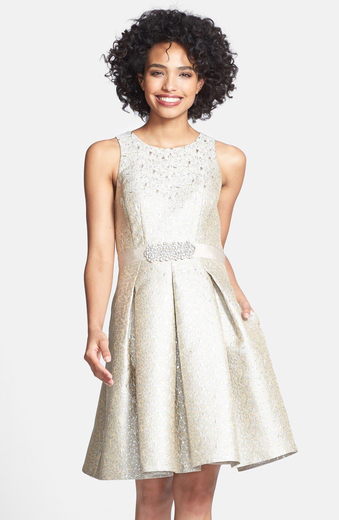 Alternate Image 1 Selected - Eliza J Embellished Metallic Jacquard Fit & Flare Dress