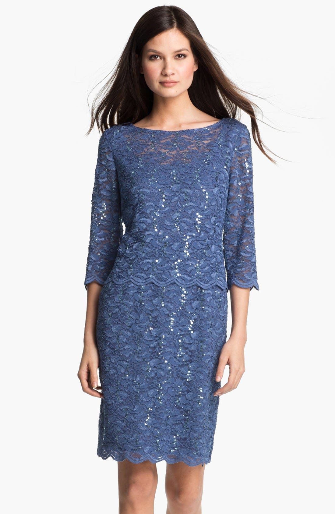 Main Image - Alex Evenings Shimmering Lace Sheath Dress
