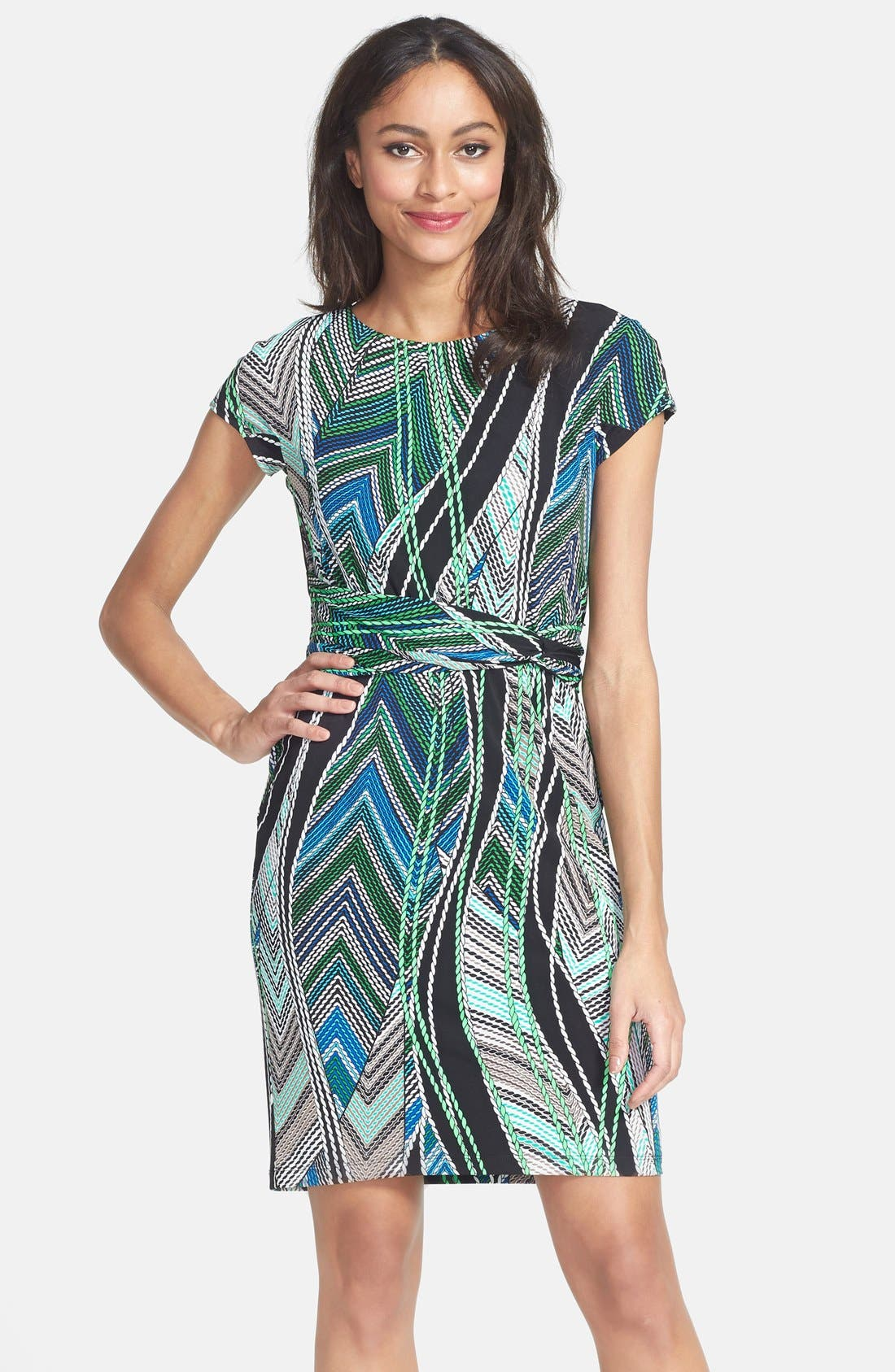 Main Image - Ellen Tracy Short Sleeve Print Jersey Dress (Regular & Petite) (Online Only)