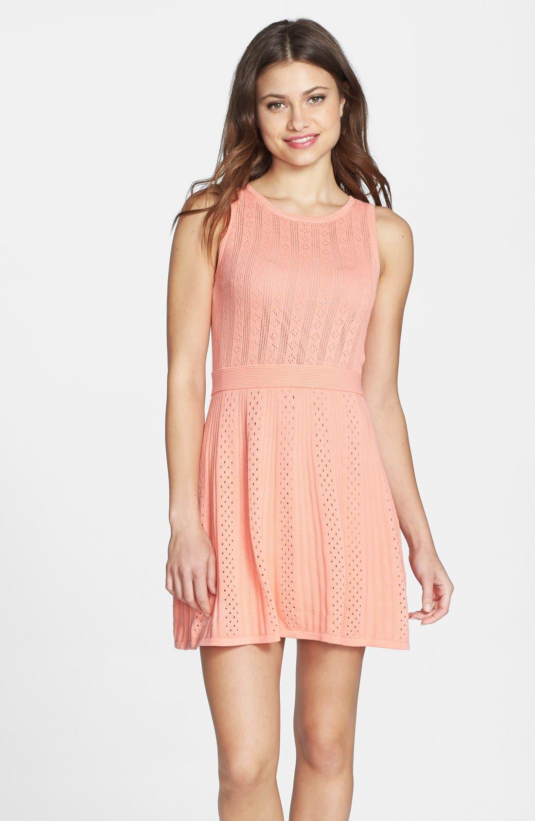 Alternate Image 1 Selected - Trina Trina Turk 'Marcela' Cotton Pointelle Knit Dress