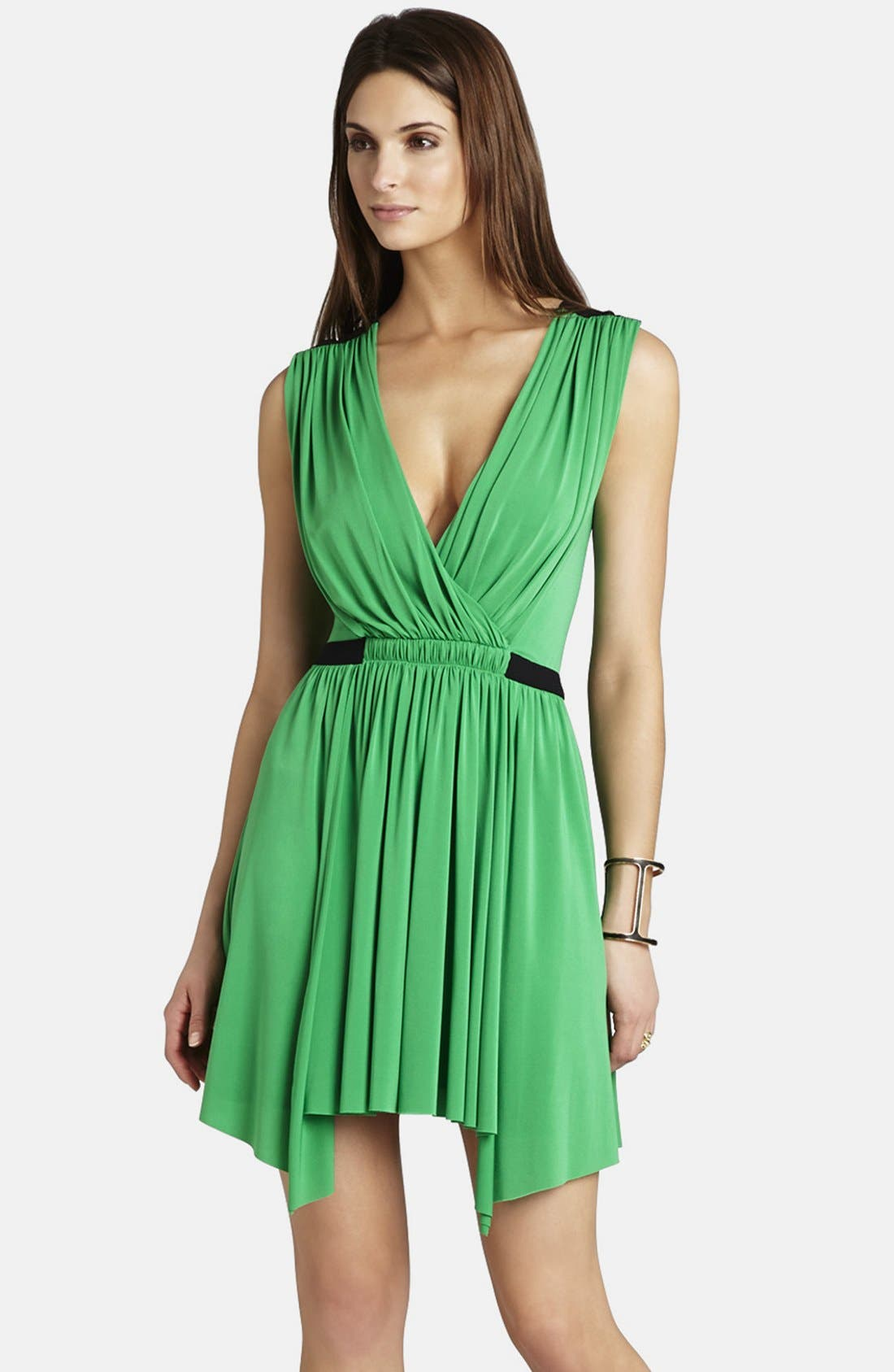 Main Image - BCBGMAXAZRIA 'Olyvia' Shirred Matte Jersey Dress