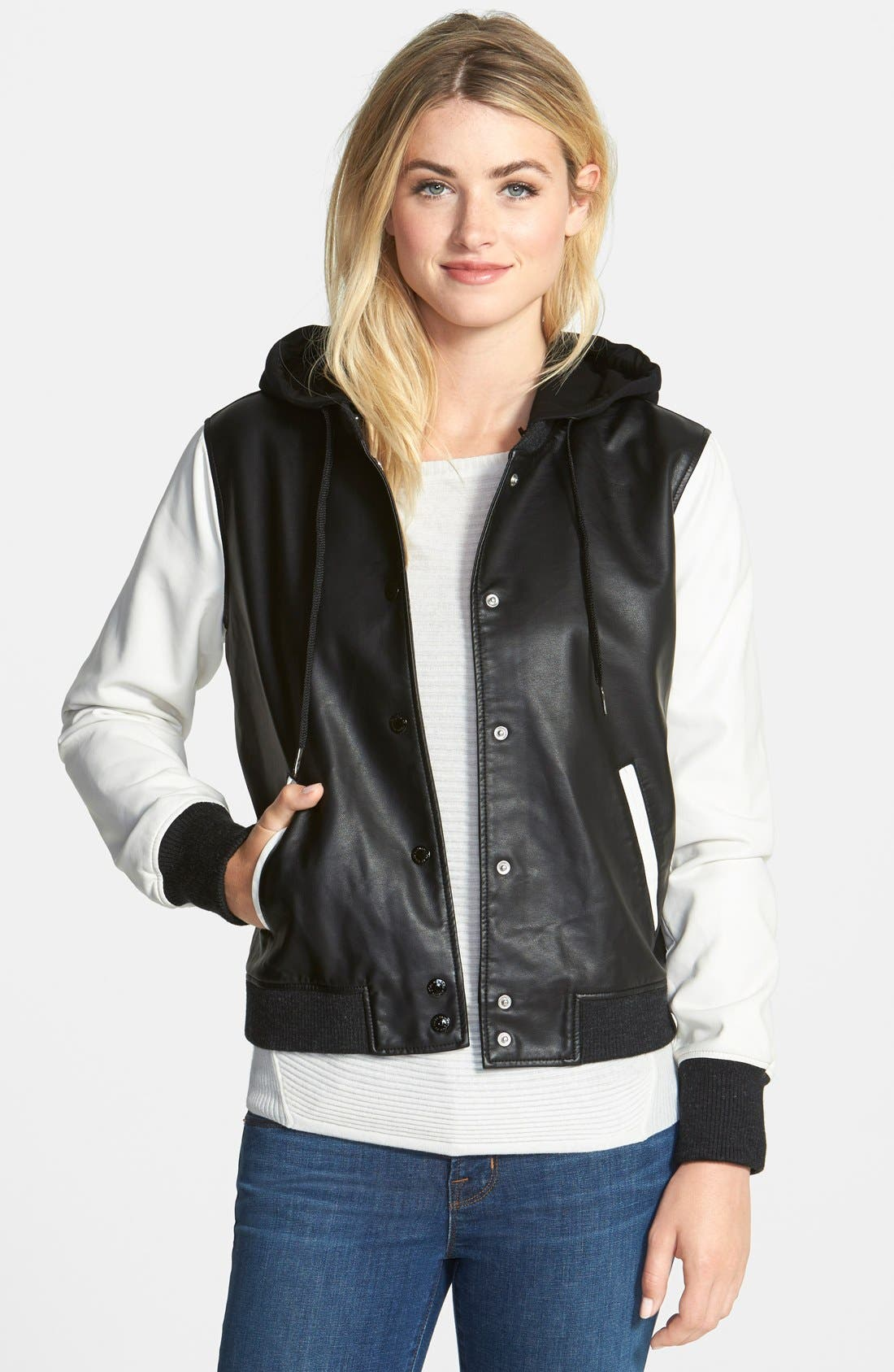Alternate Image 1 Selected - Two by Vince Camuto Lightweight Faux Leather Bomber Jacket