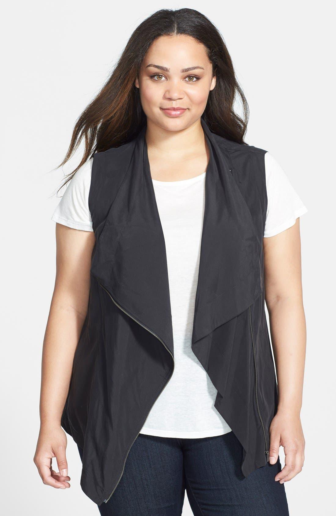 Main Image - DKNY Jeans Drape Front Vest (Plus Size)