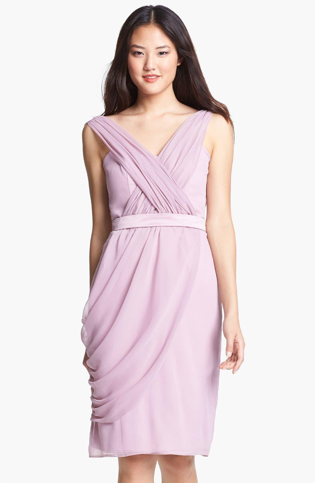 Main Image - Lela Rose Bridesmaid Draped Chiffon Dress