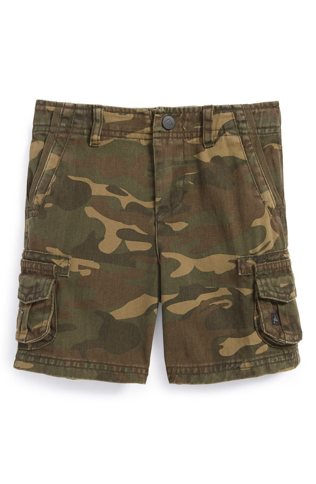 Main Image - Quiksilver 'Deluxe' Cotton Twill Cargo Shorts (Baby Boys)