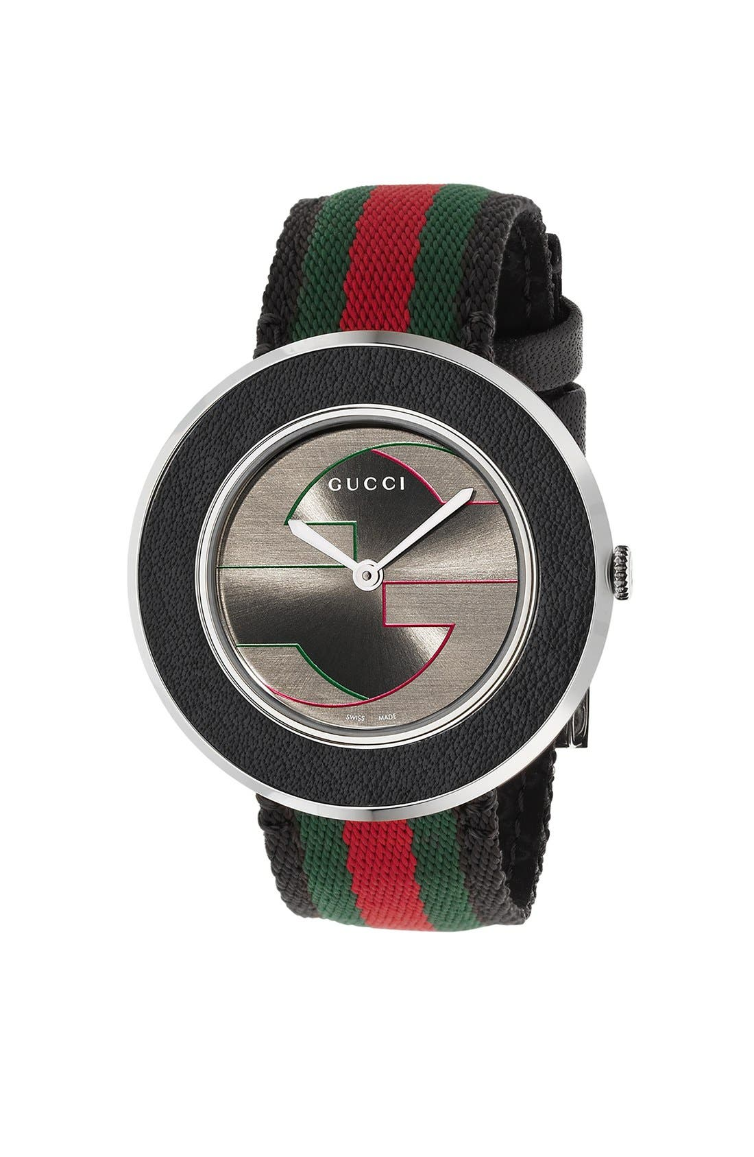 Alternate Image 1 Selected - Gucci 'U-Play' Round Fabric Strap Watch, 33mm