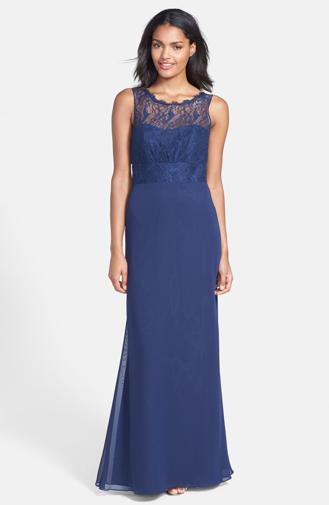 Main Image - Jim Hjelm Occasions Illusion Lace Bodice Chiffon Dress