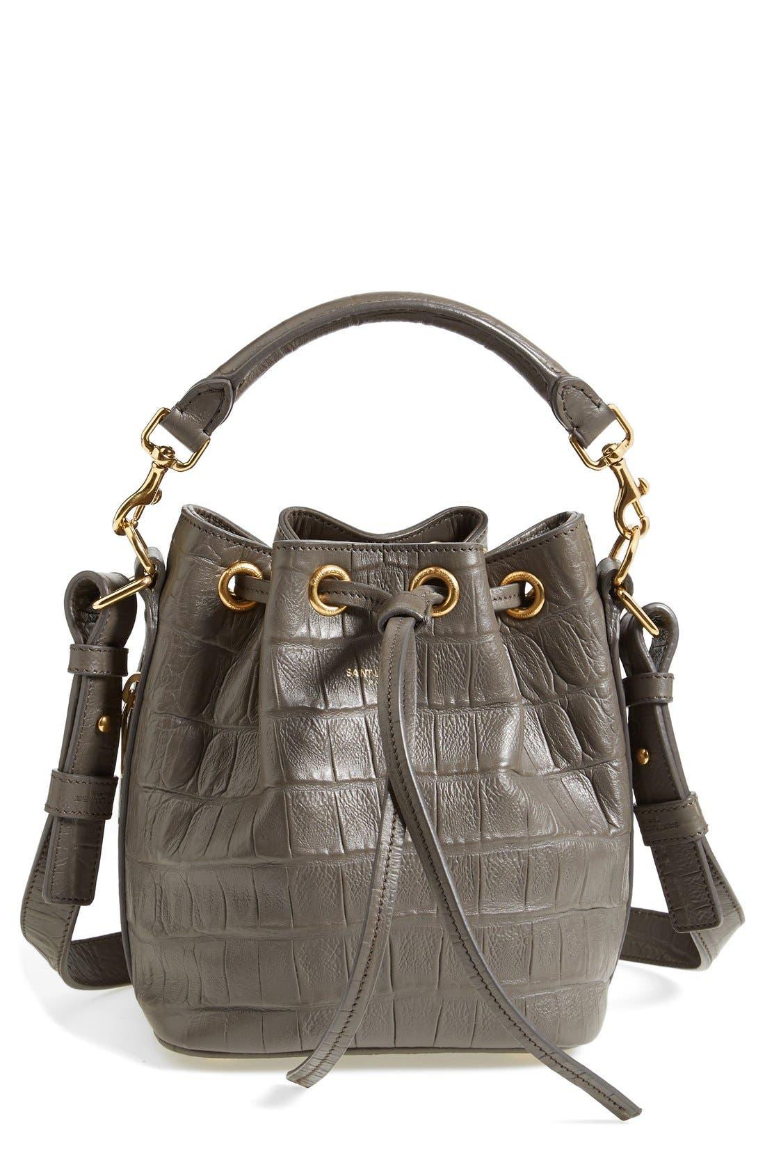 Main Image - Saint Laurent 'Small Seau' Croc Embossed Leather Bucket Bag