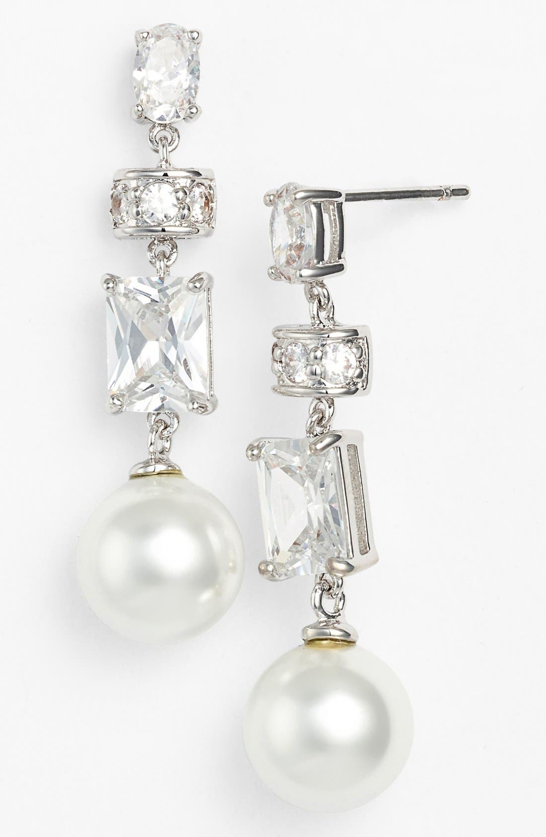 Alternate Image 1 Selected - Nina 'Clove' Faux Pearl & Crystal Linear Drop Earrings
