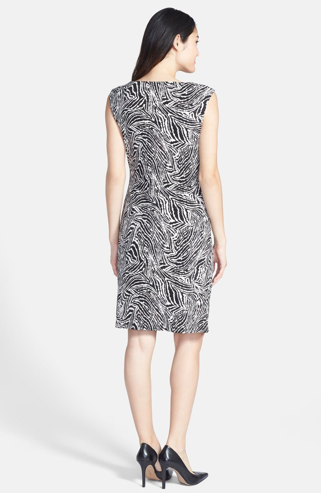 Alternate Image 2  - Chaus Goldtone Zip Shoulder Zebra Print Dress