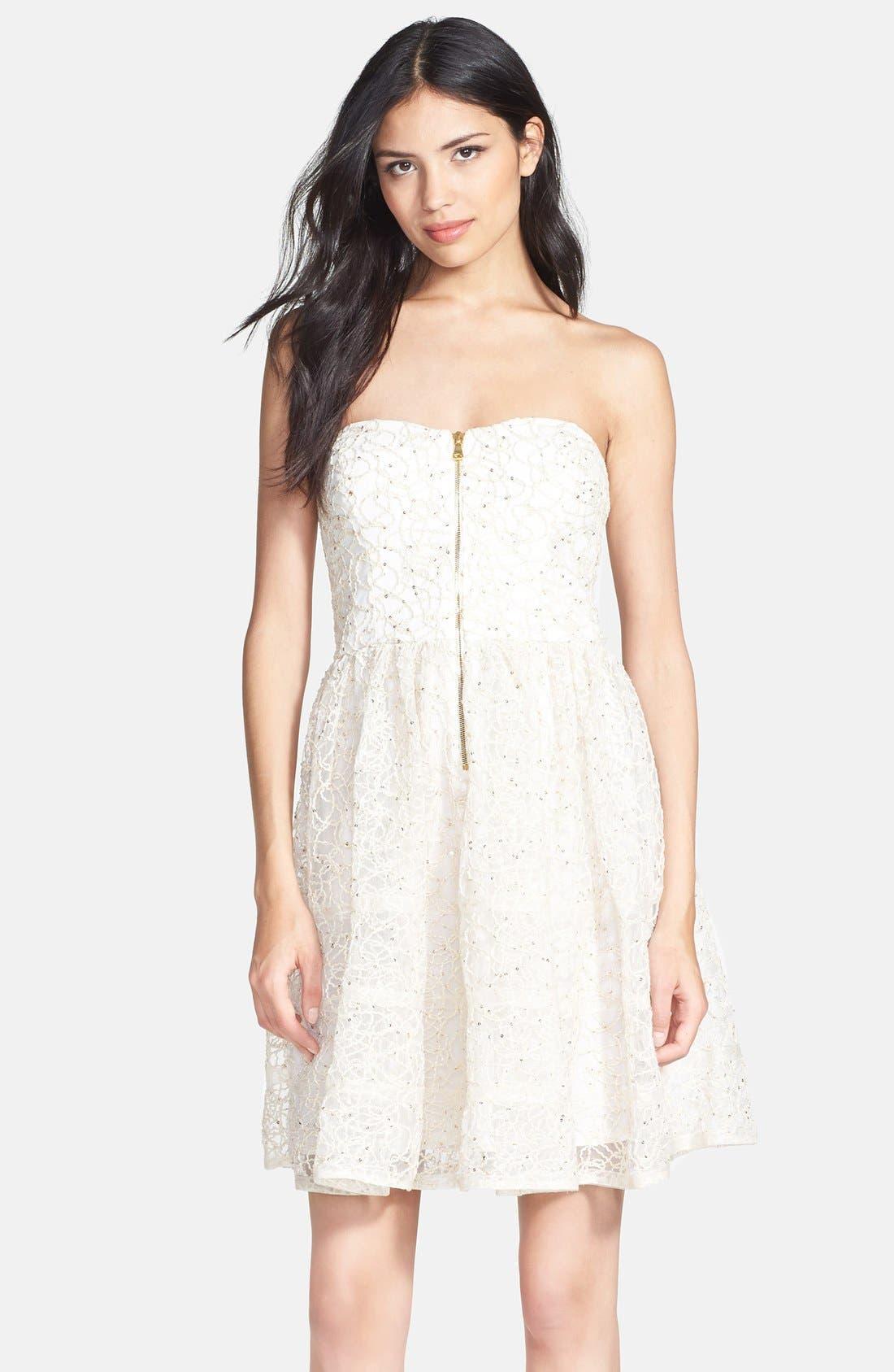 Alternate Image 1 Selected - Betsey Johnson Strapless Fit & Flare Dress