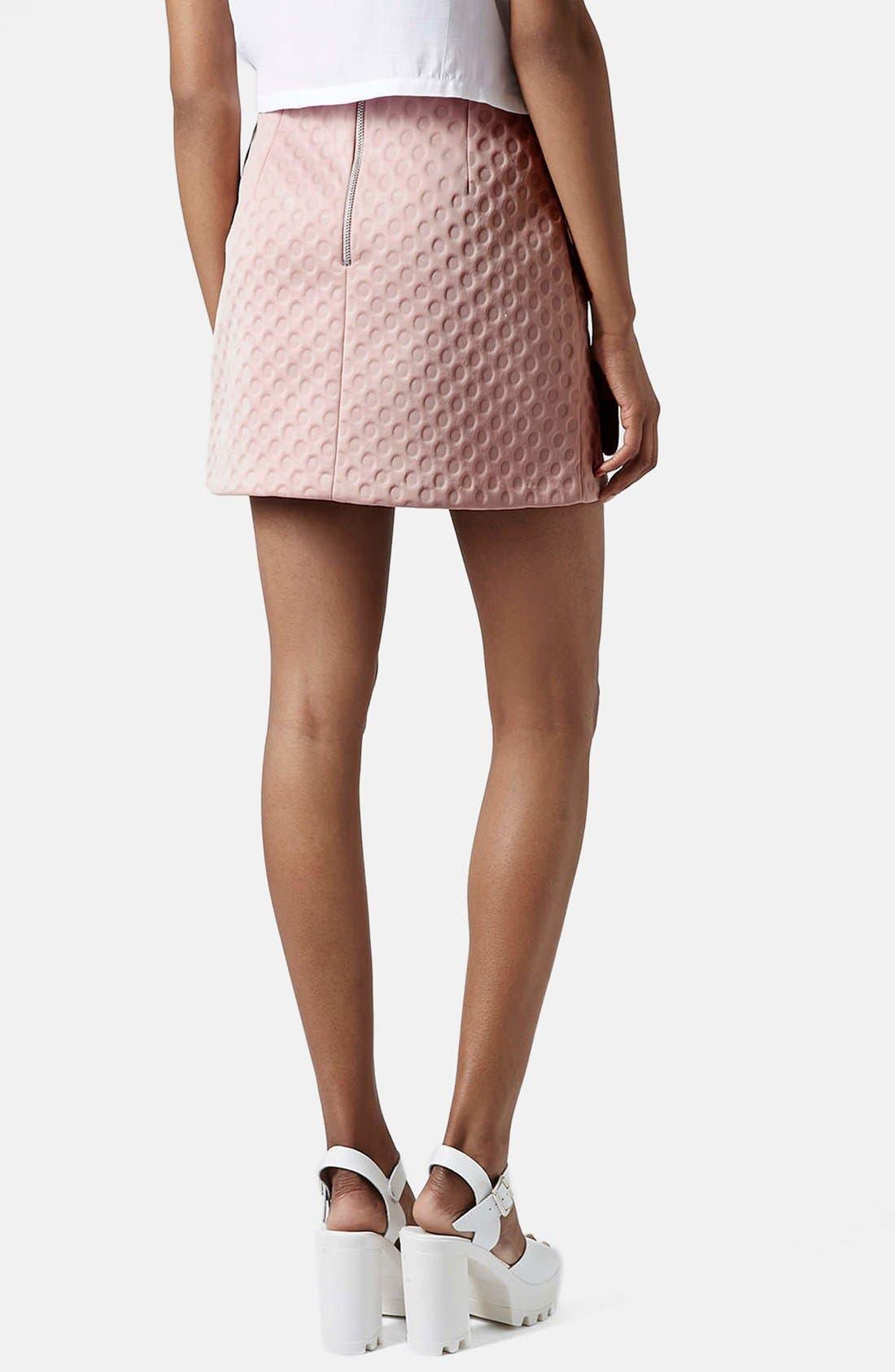 Alternate Image 2  - Topshop 'Foam Spot' Embossed Miniskirt